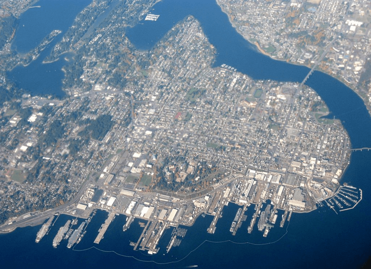 Aerial View of the City of Bremerton, Washington